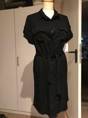 Shirtwaist dress black viscose