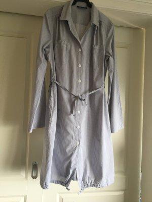 Robe chemisier blanc-gris clair coton