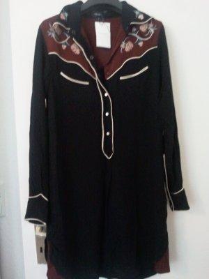 Isabel Marant Robe chemise bordeau-noir viscose