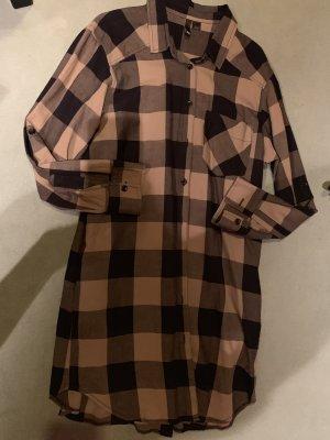 Abito blusa camicia nero-ocra Cotone