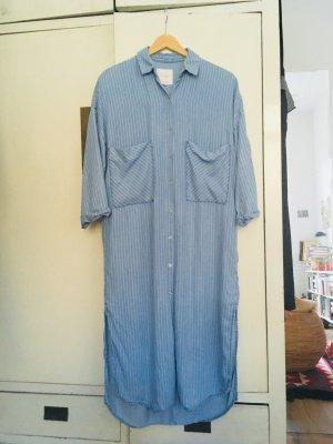 Zara Vestido tipo blusón azul celeste-blanco