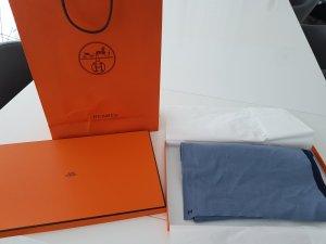 Hermès Sjaal azuur-staalblauw Zijde