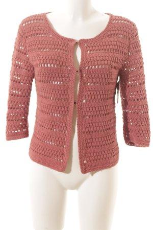 Hemisphere Veste tricotée en grosses mailles vieux rose style décontracté