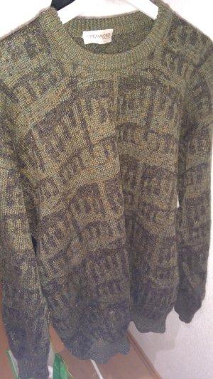 Oversized trui zwart-khaki Gemengd weefsel