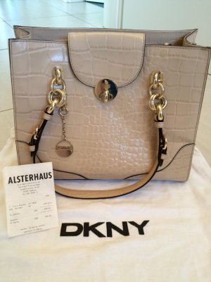 Henkel Tasche / Shopper von DKNY in  Croco Optik, nude / beige