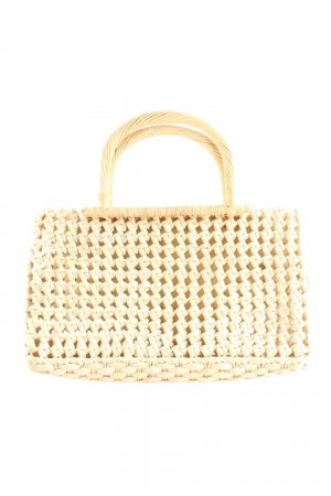 Carry Bag beige-pale green loosely knitted pattern country style