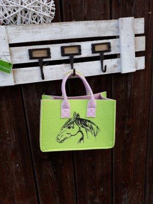 Henkeltasche Filz  rosa/apfelgrün für kleine und große Pferdemädchen