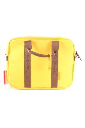 Borsa con manico giallo-oro-marrone scuro motivo a righe elegante