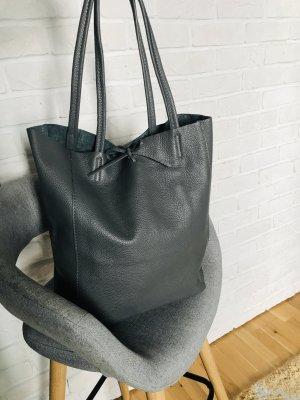 Henkeltasche Handtasche Leder Tasche Schultertasche neu grau