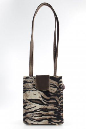 Bolso barrel marrón claro-negro estampado de animales estampado animal