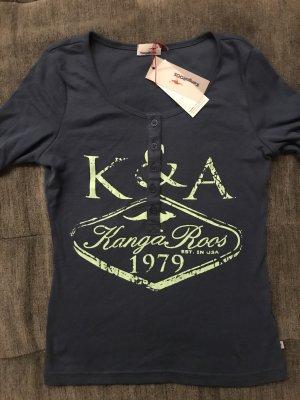Henley Shirt 3/4 Arm Druckshirt KangaRoos Gr. XS 32/34 blau Knöpfe Schrift Neu