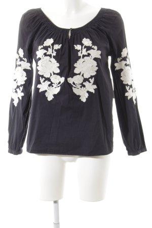 Henry Cotton's Schlupf-Bluse dunkelblau-wollweiß florales Muster