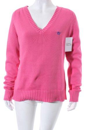 Henry Cotton's V-Ausschnitt-Pullover pink klassischer Stil