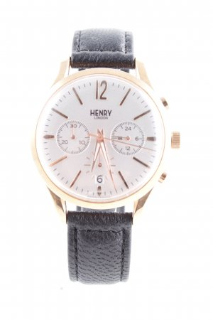 Henry London Watch With Leather Strap black-gold-colored casual look