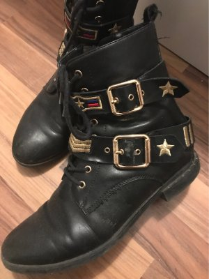 Graceland Botas bajas negro-color oro