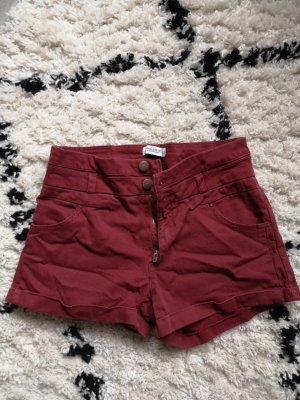 Pull & Bear High-Waist-Shorts dark red