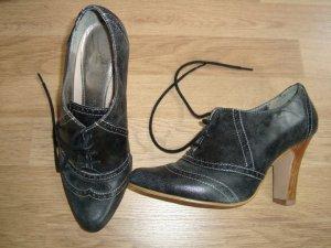 Herbstliche Schuhe, 37, Leder, schwarz-grau