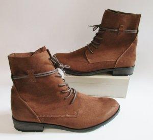 Herbstliche Stiefeletten Boots Marco Tozzi Größe 42 Braun Rotbraun Cognac Kunstleder Velours Stiefel Schnürschuhe Flach Schnürstiefel