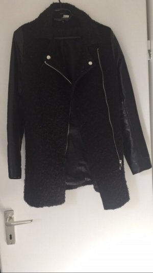 H&M Leather Coat black-silver-colored