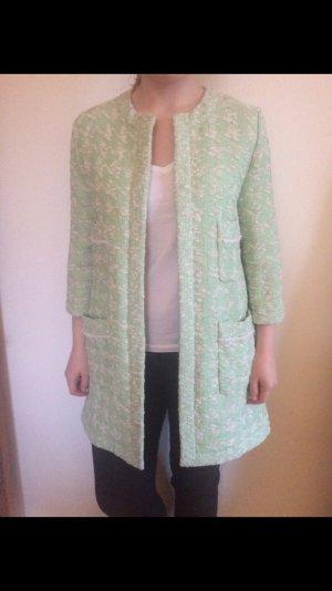 Herbstmantel Mantel von Zara Größe L grün Tweed Hochzeit elegant