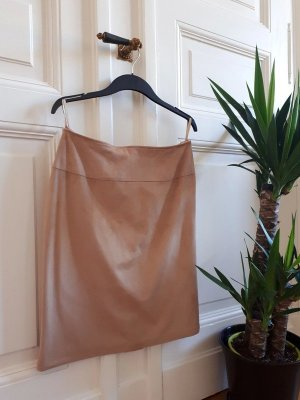 C&A Faux Leather Skirt light brown-beige