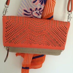 """Herbsttrend Orange! 3-Way-Tasche Clutch """"Waverly Petite"""" NEU Perforiert Vegan"""