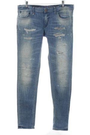Heritage Slim Jeans kornblumenblau-hellbeige Farbverlauf Street-Fashion-Look