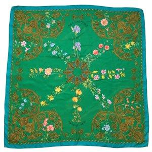 Hermès Arabesques Seidentuch Tuch Carrée Grün mit Blumen Motiv