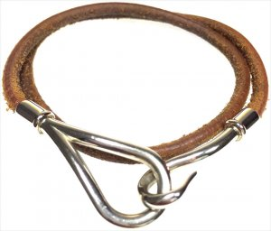 Hermès Armband Armreif Farbe Silber Braun Wickelarmband Kette