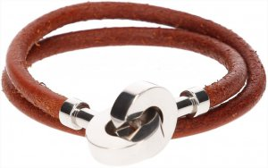 Hermès Armband aus Leder und Metall in den Farben Braun und Palladium mit Box