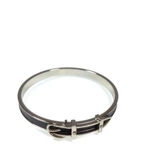 Hermès Armreif mit Motiv Gürtel in den Farben Silber Dunkelgrau