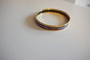 Hermès Armreif Vintage Emaille gold blau Trensenmotiv