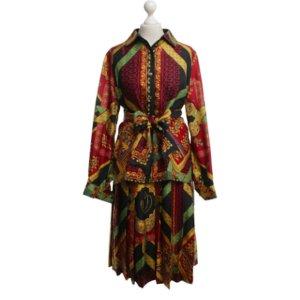 Hermès Robe chemisier multicolore soie