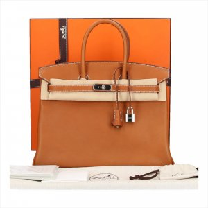 Hermès Birkin 35 Henkeltasche aus Barmenia Faubourgh Leder in Fauve Braun Tasche Handtasche