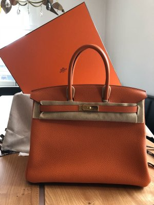 Hermès Bolso barrel naranja oscuro