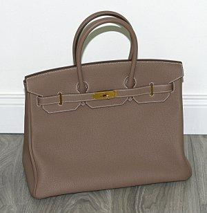 Hermès Birkin Bag 35 Etoupe Togo Leather grau Damenhandtasche NEU