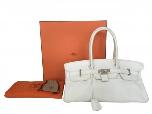 Hermès Birkin Jean Paul Gaultier JPG Tasche Handtasche Clemence Leder Weiss