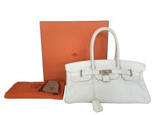 Hermès Birkin Tasche Handtasche Clemence Leder Weiss