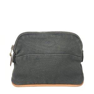 Hermès Mini sac gris foncé-marron clair coton