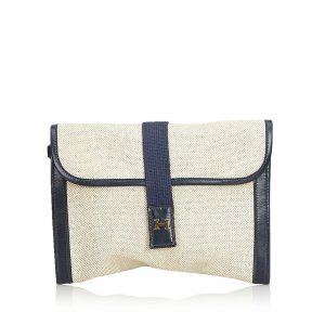 Hermes Canvas Clutch Bag