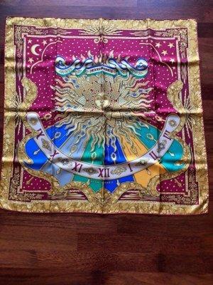 Hermès Fazzoletto da collo carminio-oro Seta