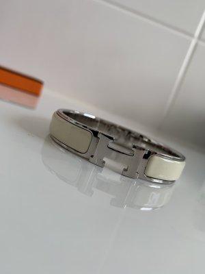 Hermes Clic Clac H Armband Armreif Beige Silber mit Geschenkbox
