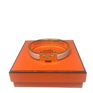 Hermès Clic H Armreif Armband Farbe Gold Weiss HERMES