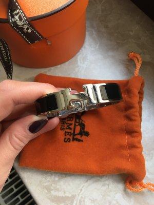 Hermés Click-Armband schwarz silber