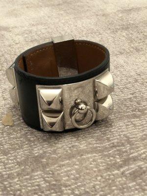 Braccialetto di cuoio nero-argento