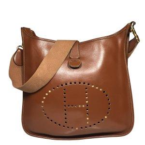 Hermès Evelyne Bernina Leder Farbe Braun Gold Tasche Handtasche
