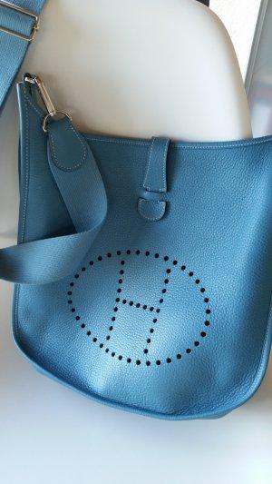 Hermes Paris Crossbody bag steel blue leather