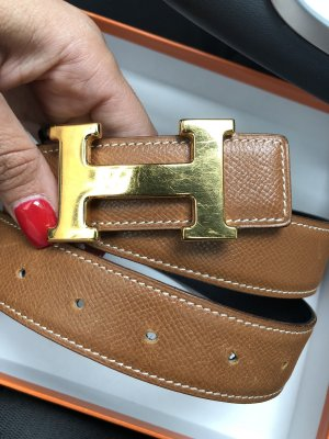 Hermès Cinturón reversible marrón-azul oscuro