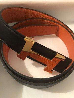 Hermès Cinturón de cuero negro-naranja oscuro