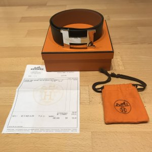 Hermès Leather Belt black leather